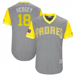 """Austin Hedges San Diego Padres Men's Authentic Majestic """"HEDGEY"""" Gray/ 2018 Players' Weekend Flex Base Jersey - Yellow"""